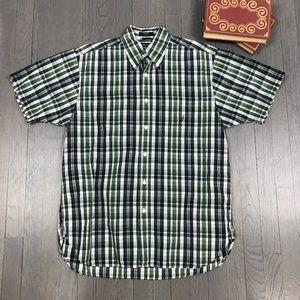 Nautica Green Plaid Short Sleeve Button Down Shirt